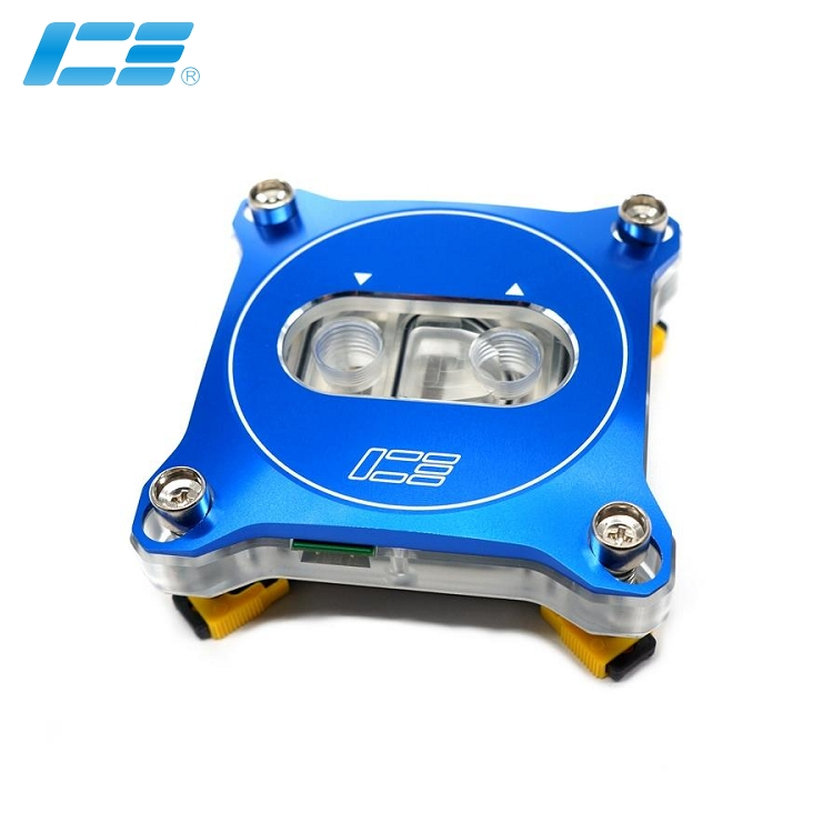 ICE-RGB 彩色LED CPU喷射水冷头 - 蓝色面板